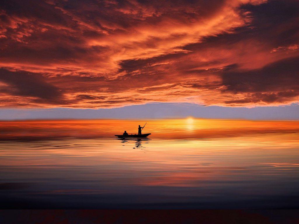 boat, man, silhouette